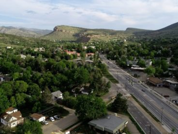 Town of Lyons Colorado aerial view with traffic and parking